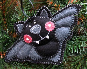 Wool Felt Bat Ornament Hanger In Black