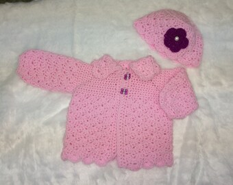 Baby Crochet Jacket and Hat Set. Crochet Baby Cardigan and Hat. Baby Sweater Set.