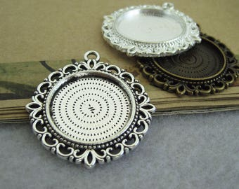 10pcs antique silver 25mm base, bronze 25mm bezel, pendant trays Jewelry findings xd1170