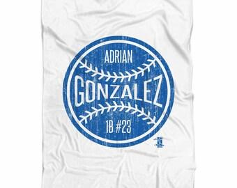 Adrian Gonzalez Ball B Los Angeles D Fleece Blanket MLBPA Officially Licensed