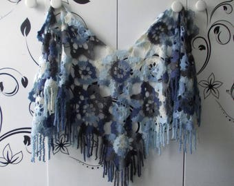 Blue, gray, white crochet scarf..poncho shawl with spiral fringe, rustic, triangular on back, boho, elegant and casual, perfect gift for her