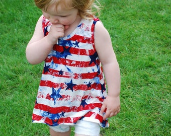 Toddler Stars and Stripes Print High Low Tank Top