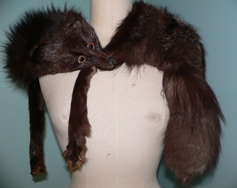 1930's Silver Fox Fur Stole From Germany