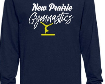 New Prairie Gymnastics Long Sleeve Navy T-Shirt