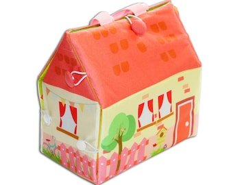 Doll house bag, fabric doll house, Travel toy doll,  Doll house, Portable doll house, Quiet book, Toy for girl, Soft doll house, Sensory toy