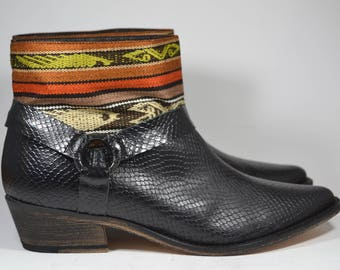 LEATHER ETHNIC BOOTS, Size 39, Black Boots, Ethnic Boots, Spanish Boots