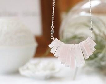 Rose Quartz Fan with Labradorite Necklace