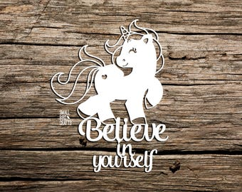 Unicorn Paper Cutting Template! Commercial Use Template, Believe In Yourself, Unicorn Papercut, Papercutting Template, DIY, Unicorn Quote