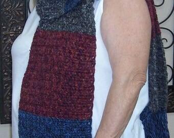 Black, Blue, & Red Wool Blend Scarf