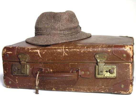 Petite valise en carton marron valise de rangement vintage - Valise en carton vintage ...