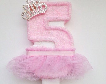 Large Baby Pink Princess Candle- Number One candle- Fifth Birthday-Ballerina Candles-Tutu and Tiara Candle-Princess Birthday Party