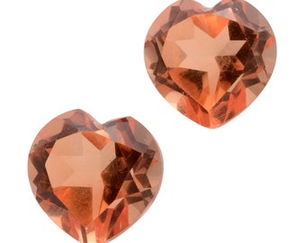 Imperial Orange Triplet Quartz Heart Cut Loose Set of 2 Gemstones 1A Quality 9mm TGW 5.75 cts.