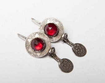 Lovely Moroccan silver coin earrings with red glass dated around 1900