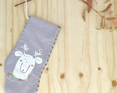 Reindeer Christmas Stocking, Christmas Stocking, Christmas Decor, Reindeer Stocking, Reindeer Sock, Mini Christmas Stocking