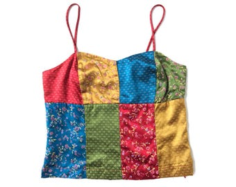 On Sale 20% Silky Patchwork Swatch Satin Cami Top