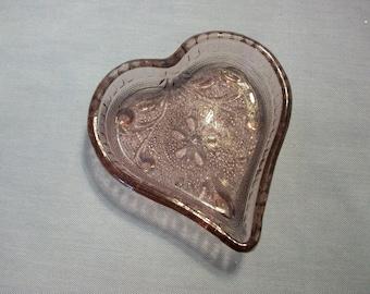 Home Interiors Purple Tiara Sandwich Glass Heart Dish, Homco, Sandwich Glass, Purple Tiara Glass, Hearts, Heart Dish, Heart Trinket Dish