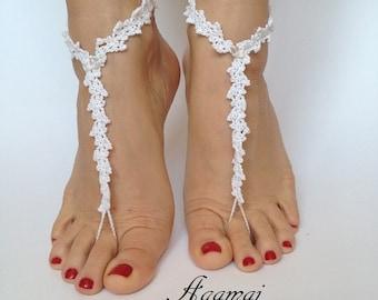 Bridal Barefoot Sandals White crochet barefoot sandals Bridal Foot jewelry Beach wedding barefoot sandals Lace shoes Beach wedding sandals