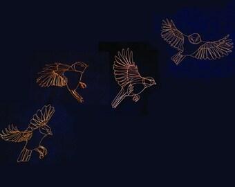 Four Blue tits in flight