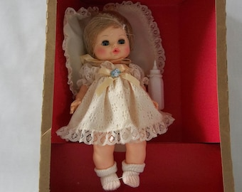"Vintage Horsman ""Love Me Baby"" Toy Doll With Pillow and Bottle, New in Box, Irene Szor Design, Collectible Baby Doll"