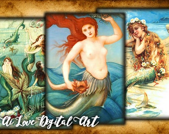 Digital collage sheet Vintage Mermaid, instant download card making, mythical creature digital printable images, aceo cards, scrapbooking