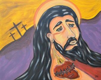 "Sacred Heart of Surrender, Jesus, 16""x20"" Stretched Canvas, Acrylic Paint, Original Artwork, Religious Art, Christian Art, Modern Art,Faith"