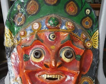 Antique Indonesian paper mache mask