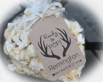 Ready To Pop Baby Shower Favor Kits 3 TAG COLORS | Popcorn Favor 25
