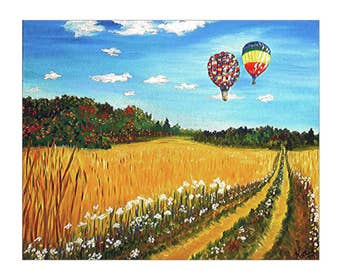 Canvas Art, Air Balloons, Fine Art Print, Stretched canvas, wall art, hot air balloons, wheat field, landscape Art, Wall decor, balloon art