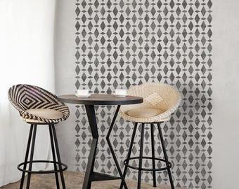 AGADIR Moroccan Furniture Wall Floor Craft Stencil - Diamond Mosaic Tile - AG001F