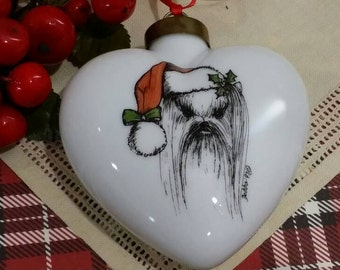 Vintage 1990s Hand Painted Shih Tzu Porcelain Heart Christmas Ornament by Debba