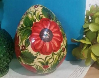 Vintage Hand Painted Wooden Egg Vibrant Red Flowers 4.5 Inches Tall