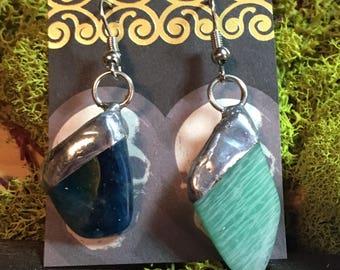Asymmetrical Blue Apatite and Amazonite Dangle Earrings