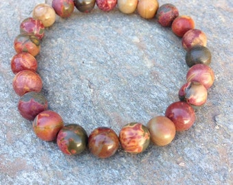 Picasso Jasper Stretch bracelet/Picasso/Jasper bracelet/earth tone jewelry/stone jewelry/handmade/beaded bracelet