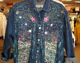 S.B.II made in Turkey artsy fun Denim jean jacket with mirrors sequins and paint