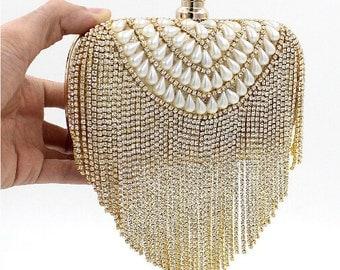 Gold wedding clutch, Bridal clutch, Crystal rhinestone clutch, evening bag, Pearl clutch, bridesmaid bag, crystal clutch rhinestone bag