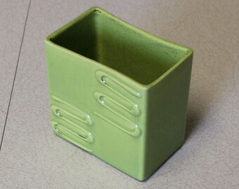 Playful Chartreuse Planter Gilt Squiggle Pattern Ceramic Mid Century Modern Period Perfect Vivid Color Green