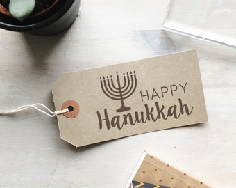 Happy Hanukkah Stamp - Menorah Stamp - Candelabrum - Jewish Stamp - Judaism - Hanukkah Menorah - Chanukah - Religious Stamp