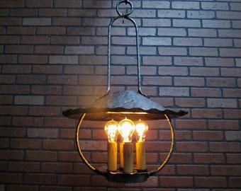 "Rustic Antique Lantern Ceiling Light 18 1/2"" Diameter Arts & Crafts California Mission Light Fixture 4 Light  Edison Bulbs"