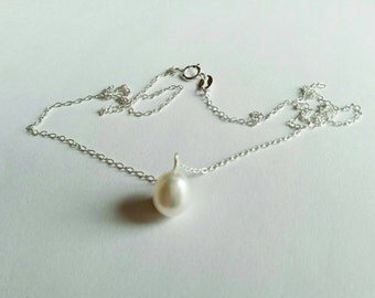 White Pearl Pendant Necklace, White Pearl Pendant, Silver Necklace, Sterling Silver, Freshwater Pearl, White Pearl, June Birthstone