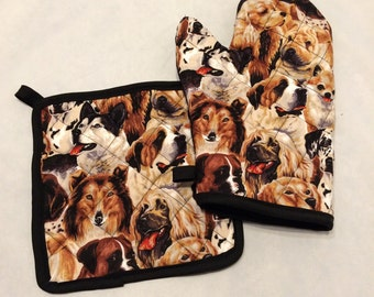 Dog lover quilted/insulated oven mitt and pot holder set/individual