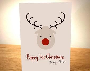 Babies First Christmas Card - Blank Greeting Card - Christmas Art - Christmas Card - Baby Christmas Card - Blank