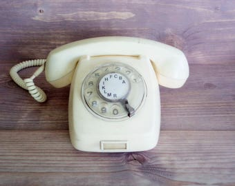 Vintage Rotary Telephone, White Phone, 60s Desk Telephone, Vintage Office Decor, Retro Home Decor