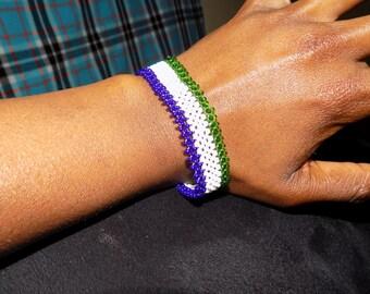 Sierra Leone Bracelet/Wrist Band/Sierra Leone Flag Bracelet