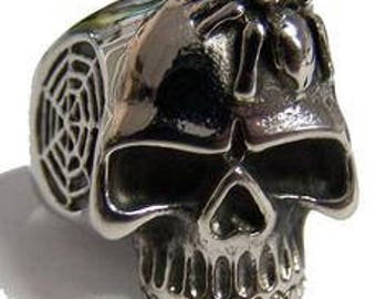 Skull With Spider and Web Ring