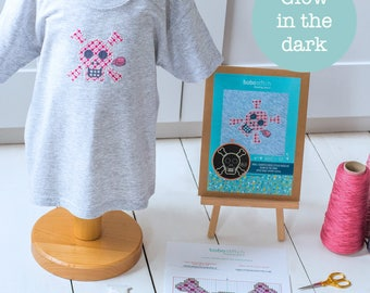 Glow in the dark pink skull cross stitch patch kit - Embroider on clothes kit