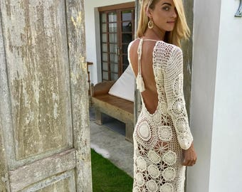 Sexy off white hand made crochet dress with open back from Ibiza SALE