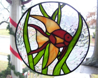 Stained Glass Lucky Goldfish Suncatcher
