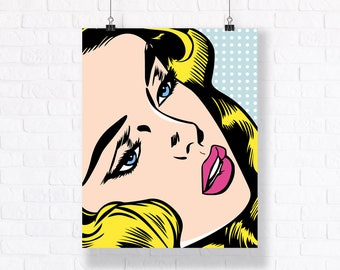 Blondy - Colored Theme - Customizable Pop Art Comic Book Illustration, High Quality Poster with Fast Shipping