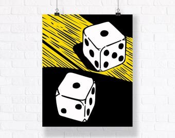 Casino - Comic Book Vector Illustration - Customizable Wall Art
