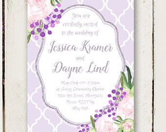 Peony Wedding Invitations - Purple and Silver - Unique Invitations - Invitation Only